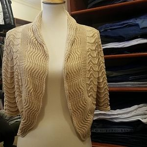 INC medium tan cropped sweater with Specks of gold